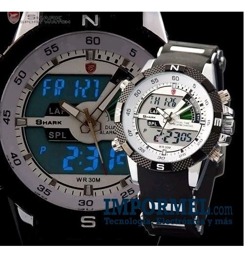 Reloj Shark Sh041 Correa Caucho 3at Analogo Digital