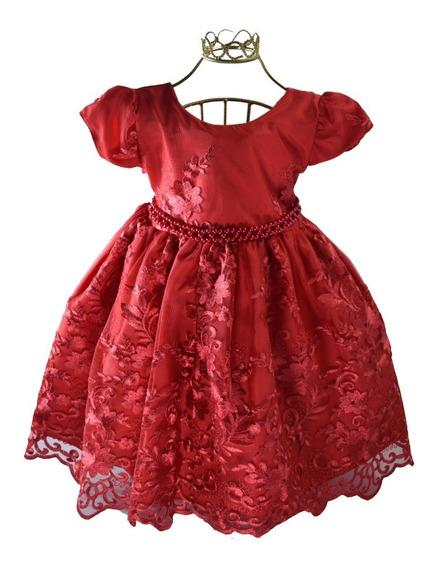 Vestido Infantil Festa Realeza Daminha Vermelho Elena