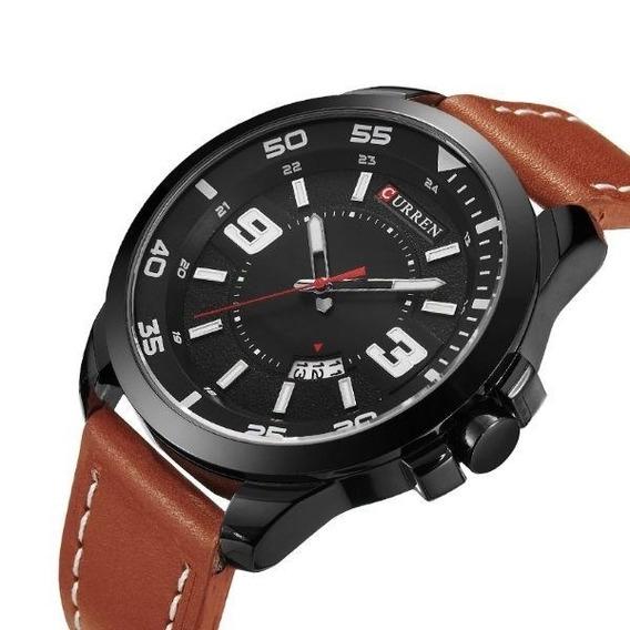 Relógio Masculino Social Curren Preto Marrom Couro 8213