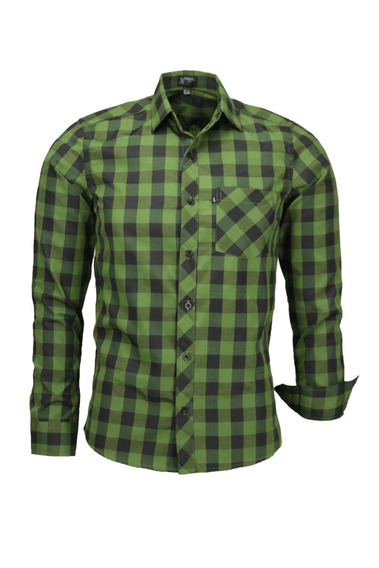 Camisa Plug Manga Longa Slim - Verde Escuro - Ref 1537