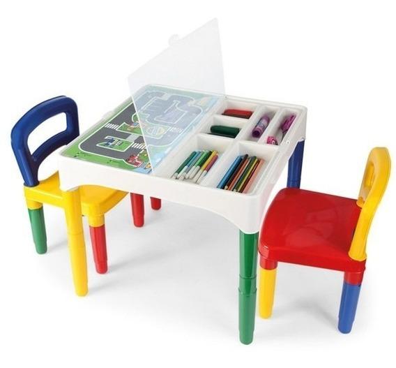 Mesa Didática Mesinha Infantil Poliplac 2 Cadeiras 3 Adesivo