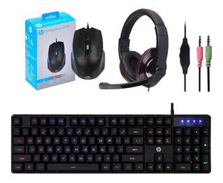Combo Gamer Teclado Simil Mecanico Rgb Mouse Auricular
