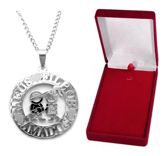 Colar Medalha Casal Menino E Menina Aço + Caixinha De Veludo