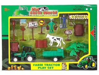 Set Tractor Con Acoplado Y Elementos Agro Animales 13 Pzs