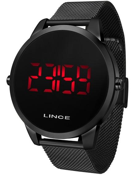Relógio Digital Masculino Preto Lince Led Vermelho Mdn4586l