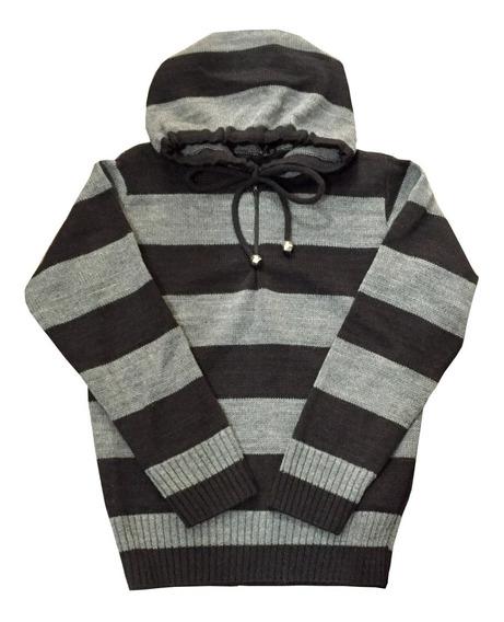 Blusão Trico Infantil Menino Com Capuz E Listras