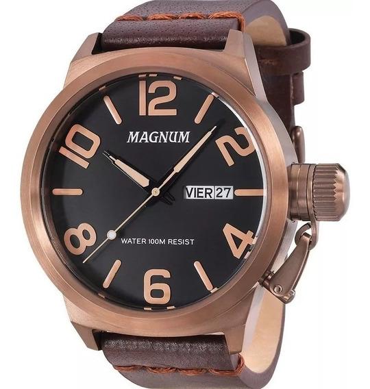 Relógio Masculino Magnum Couro Marrom Original Nota Fiscal