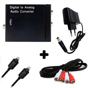 Kit Conversor De Áudio Digital+fonte+cabo Rca+cabo Optico