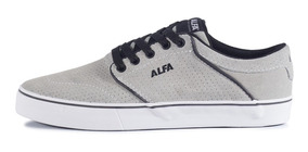 Tenis Alfa Switch Cinza Alvejado E Branco