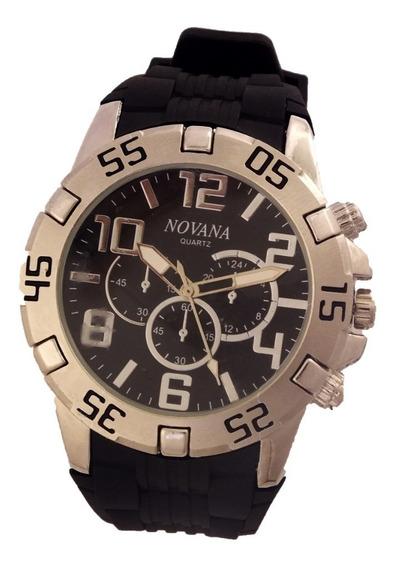 Relógio Masculino Novana De Pulso Pulseira Em Borracha B5707