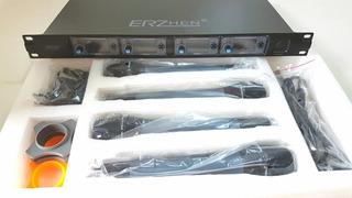 Kit Com 4 Microfones Sem Fio Uhf Erzhen U-f400 Novo S/ Uso
