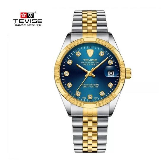 Relógio Tevise 629 Automático Mecânico Prata Dourado E Zul