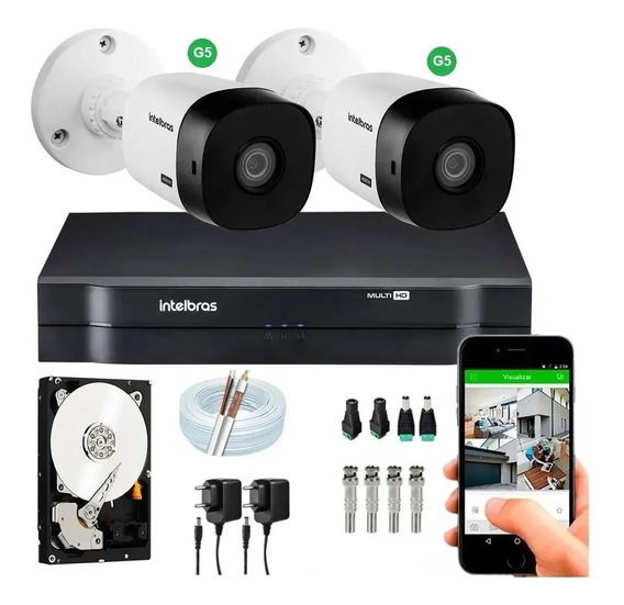 Kit Intelbras 2 Cameras G4 Dvr Multihd 4ch Mhdx 1104 H.265