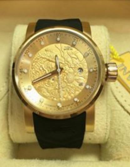 Relógio Automático Yakuza Dourado Pulseira Preta