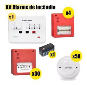 Kit Central Incêndio + Detector + Botoeira + Sinalizador