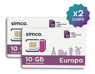 X2 Chips Plan Europa C/u 10 Gb + Min + Sms