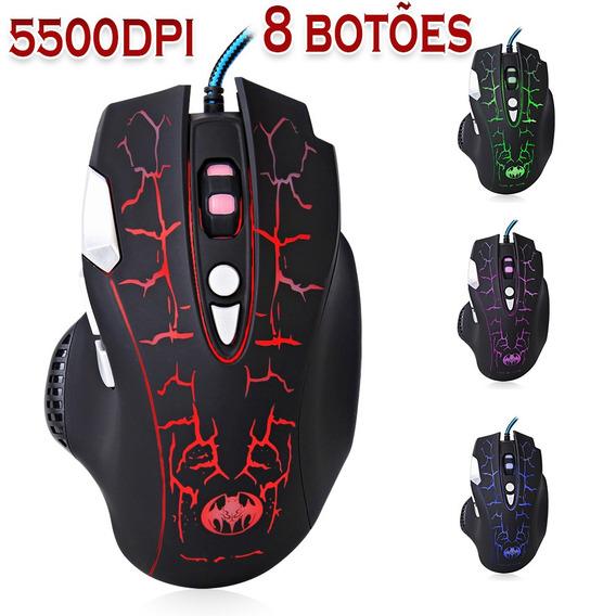 Mouse Gaming Dpi 5500 Led 8 Botões Usb Alta Precisão P/ Jogo