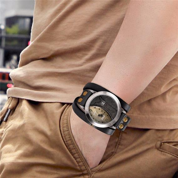 Relógios Redondo Ccq Pulseira Em Couro Masculino Vintage