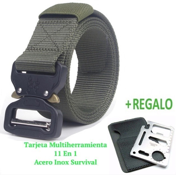 6 Pzs Cinturón Táctico Asalto Militar+tarjeta Multiusos 11x1
