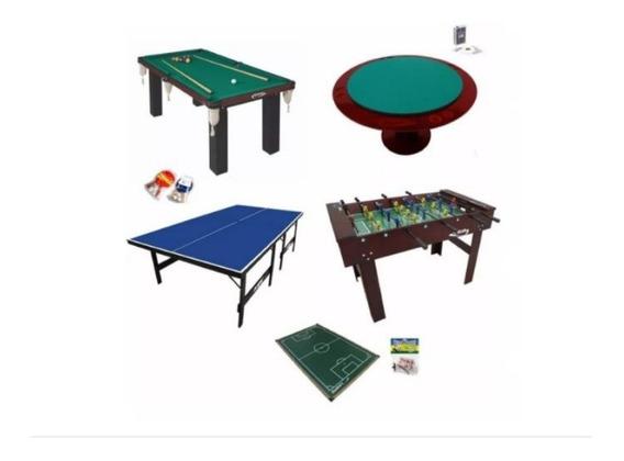 Kit Salão De Jg Fut. Botão+pebolim+sinuca+ping Pong+parteado
