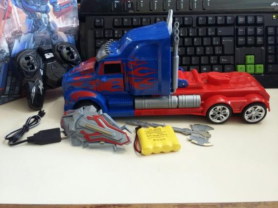 Optimus Prime Caminhão Vira Robo Controle Remoto A Bateria