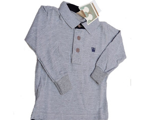 Camisa Camiseta Pólo Infantil Masculina 6-9 Mses Elian