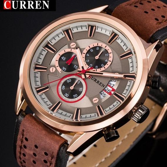 Relógio Curren 8290 Original Cronógrafo Funcional De Couro
