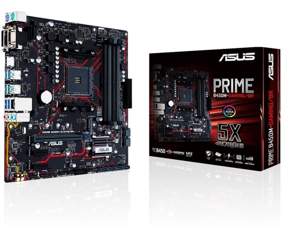 Placa-mãe Asus Prime B450m Gaming/br Amd Am4 Ddr4 Ryzen