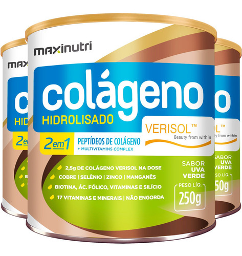 Colágeno Hidrolisado Verisol Antirrugas 3x250g Uva Verde
