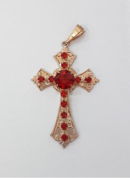 Pingente Crucifixo Dourado Com Pedras