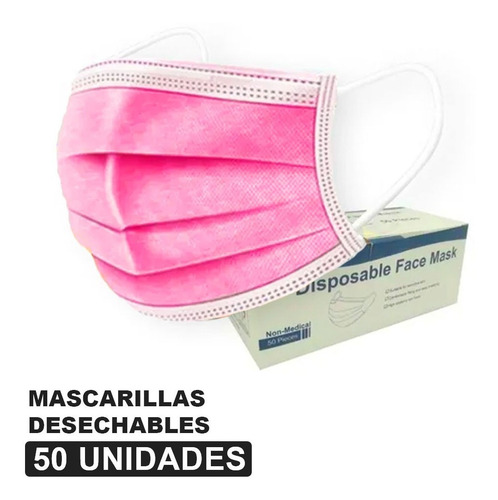 Mascarillas Desechables Color Fucsia - 50 Unid - 3 Pliegues
