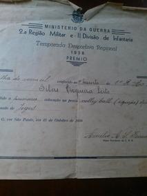 Diploma - Ministério Da Guerra - 1938 Premio