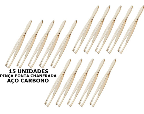 Kit 15 Pinças Ponta Chanfrada Dourada Aço Carbono Marco Boni