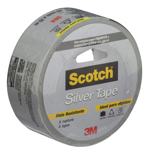 Fita Silver Tape Prata 45 Mm X 25 M 3m