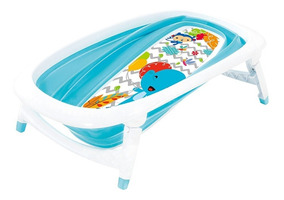 Banheira De Bebê Portátil Dobrável Flexível Azul