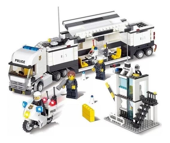 Brinquedo Delegacia Caminhão De Policia Lego 511pçs Coleção