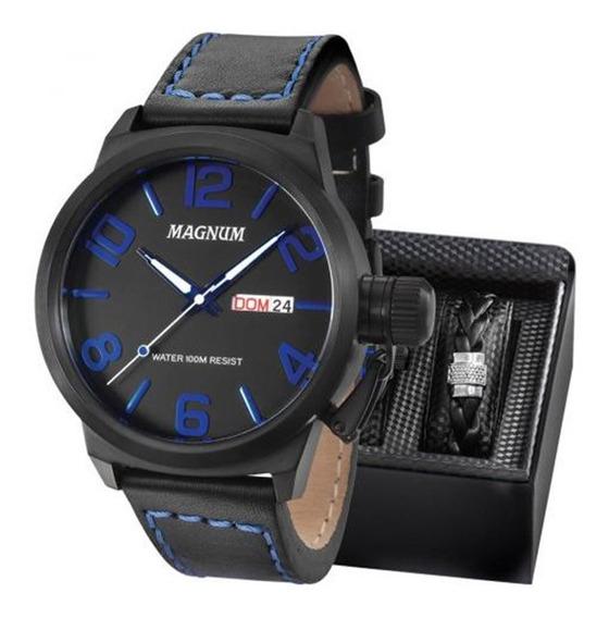 Kit Relógio Magnum Masculino Pulseira Original Ref. Ma33399o