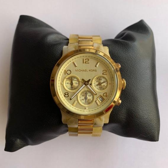 Relógio Michael Kors Mk5139 Runway Orig Chron Anal Gold