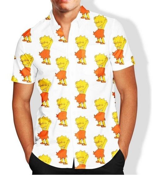 Camisa Masculina Slim Lisa Simpson Lançamento R\ 060