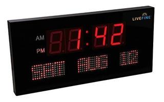 Ivation Reloj Digital Con Calendario Led Rojo Extragrande De
