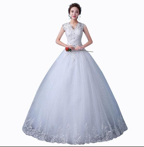 Vestido De Noiva Princesa Renda Com Brilho Com Saiote 9033