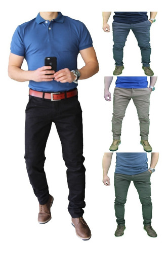 Imagen 1 de 5 de Pantalon Elasticado Semipitillo Hombre