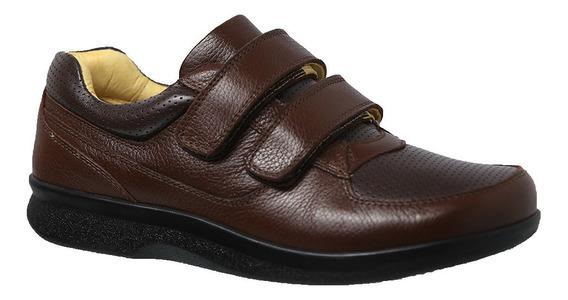 Sapato Masculino Diabético Em Couro Café Floater 3058 Doctor Shoes