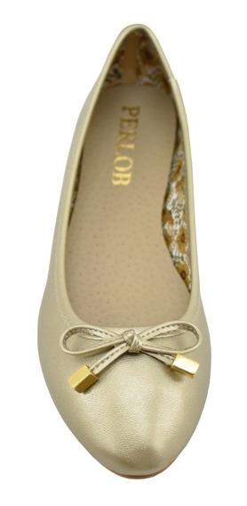 Zapatos De Mujer Flats Perlob Básica Metal Oro-forro De Piel