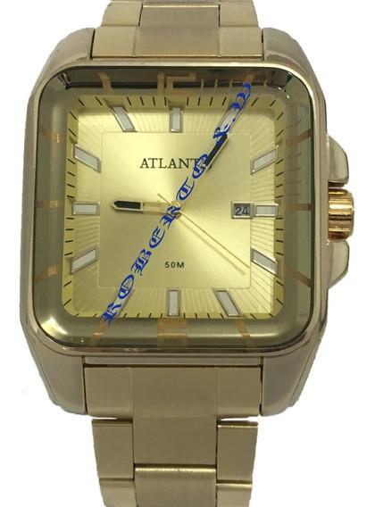 Relógio Masculino Atlantis Dourado Quadrado + Caixinha