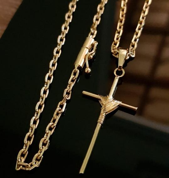 Corrente 2mm 70cm Banhada A Ouro 18k Com Pingente Cruz