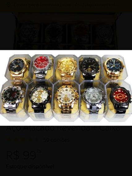 Relógio Masculino Pulseira Aço + Caixa
