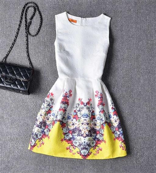 Vestido Clássico Amarelo E Branco - Importado