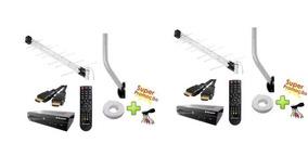 2 Conversor Digital + 2 Antenas + 2 Suportes + 2cabos 10m