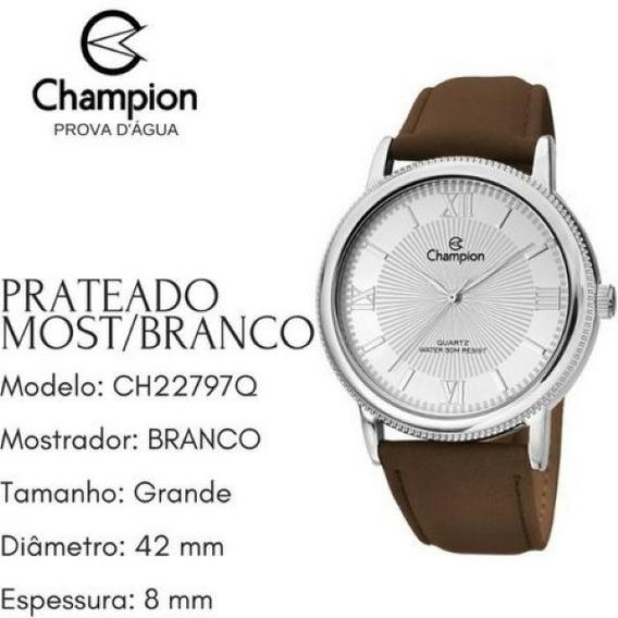 Relógio Champion Original, Novo, Prata, Unisex, Ch22797q